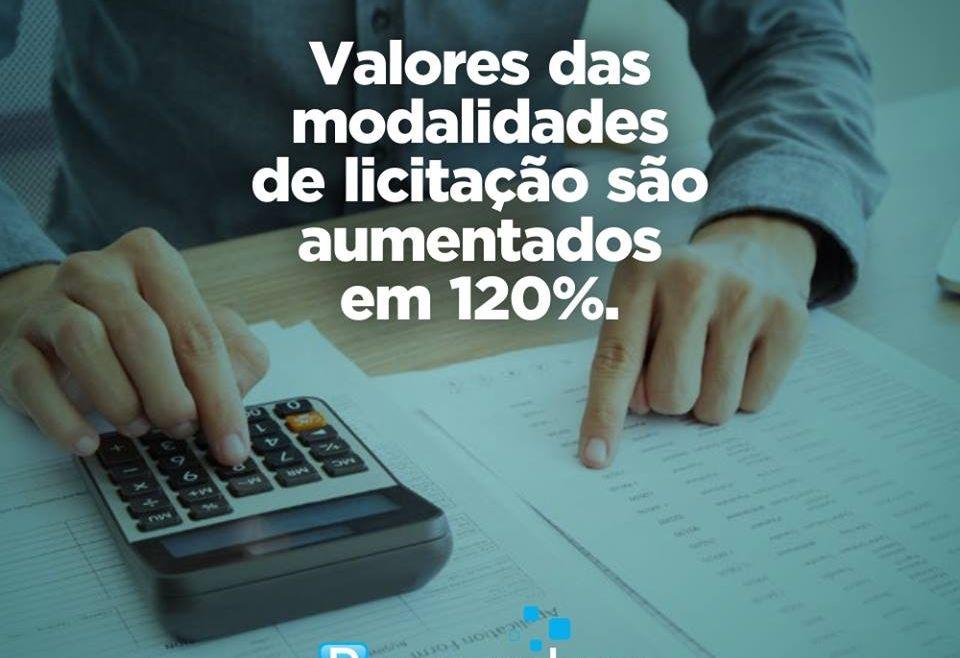 Valores das modalidades de licitação são aumentados em 120%