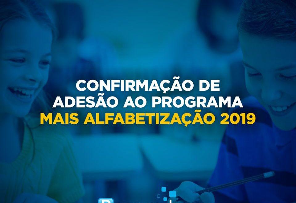 Confirmação de adesão ao programa Mais Alfabetização 2019